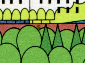 1849I Holsteinische Schweiz - 10er-Bogen mit PLF I grüner Fleck, Feld 10, **