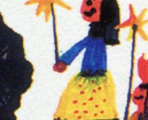 1834 Kindermission - 10er-Bogen mit PLF Fleck über dem Handgelenk, Feld 2 **