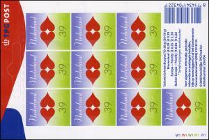 2277 Grußmarke 39 Cent - Zehn für die Liebe 2005, Folienblatt **