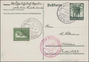 Zeppelin Hindenburg Fahrt in das befreite Sudetenland P 268 FRANKFURT 1.12.38