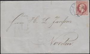 Hannover 14 König Georg V. 1 Groschen EF Brief EMDEN 25.7.1862 nach NORDEN 25.7.