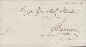 Bayern Vorphilatelie Briefhülle Einzeiler NERESHEIM (1814)