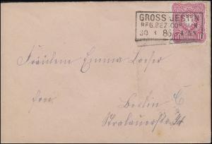 41 Adler 10 Pfennig EF Bf. GROSS-JESTIN / REG.BEZ. COESLIN 30.3.1885 nach Berlin