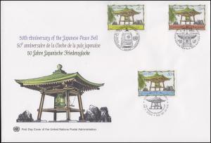 UNO Trio-FDC 87 Jahrestag 50 Jahre Japanische Friedensglocke 3.6.2004