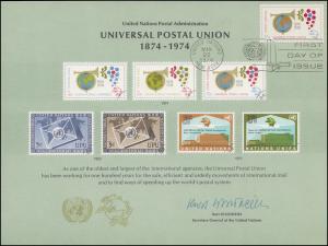 UNO Erinnerungskarte EK 5 Weltpostverein (UPU) 1974, NY-FDC 22.3.1974