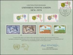 UNO Erinnerungskarte EK 5 Weltpostverein (UPU) 1974, Genf-FDC 22.3.1974