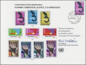 UNO Erinnerungskarte EK 13 Namibia 1978, NY-FDC 5.5.1978