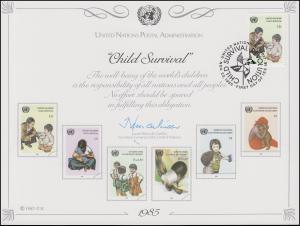 UNO Erinnerungskarte EK 28 Gegen Kindersterblichkeit 1985, NY-FDC 22.11.1985