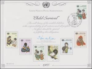 UNO Erinnerungskarte EK 28 Gegen Kindersterblichkeit 1985, Genf-FDC 22.11.1985