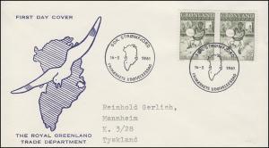 Grönland 46 Grönländische Sagen: Trommeltänzer 1961 - Paar auf Schmuck-FDC