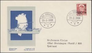 Grönland 43 Freimarke mit Aufdruck - Grönlandhilfe 1959 auf Schmuck-FDC