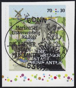 3287 Bremer Stadtmusikanten 70 C. selbstklebend aus MH 105, EV-O 9.2.2017