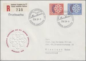 Schweiz 681-682 PTT-Konferenz, Satz auf Schmuck-R-FDC ESSt MONTREUX 22.6.1959