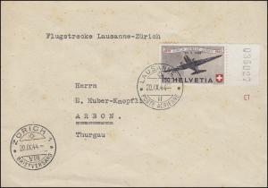 Schweiz 438 Flugpost, Randstück als EF auf FDC LAUSANNE 20.9.44 nach Arbon