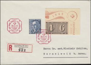 Schweiz 419 Jubiläum 100 Jahre Briefmarken als Eckstück, R-FDC ZÜRICH 26.11.1943