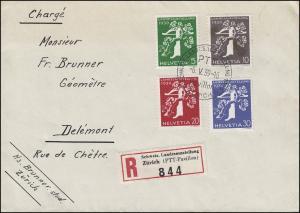 Schweiz 344-347 Landesausstellung, Satz auf R-FDC ZÜRICH (PAVILLON) 6.5.1939