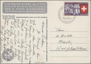 Schweiz 335 Landesausstellung als EF auf AK Bundesfeierkarte SSt ZÜRICH 1.7.1939