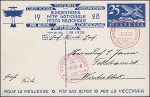 Schweiz Postkarte P 134/01 Bundesfeier Flugzeug, roter SSt AERODROM GENF 1.8.28