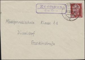 Landpost Zoghaus über GREIZ 30.3.53 auf Briefvorderseite mit Pieck 24 Pf.