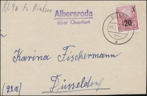 Landpost Albersroda über QUERFURT 4.1.55, Briefvorderseite mit 439 als EF