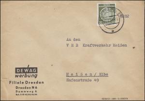 ZKD Dienstmarke A 20 Pf EF auf Brief DEWAG Werbung DRESDEN 29.6.1955 nach Meißen