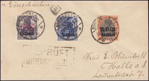 Militärverwaltung Rumänien Nr. 1 u.a. auf Brief BUKAREST 1918 mit Zensur-Stempel