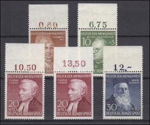 156-159 Wohfahrt 1952, Satz mit Oberrand, ** postfrisch - mit 158 Type I UND II