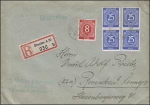 926 Ziffer 25 Pf 4mal + 917 Ziffer 8 Pf MiF R-Brief DRESDEN 6.5.46 n. Remscheid