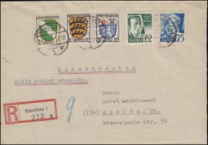 4+11 Freimarken 12+75 Pf mit Wappen 1+5+15 Pf R-Bf. KONSTANZ 22.11.47 n. Apolda