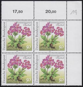1506F Rennsteiggarten Wulfens Primel 50 Pf. OHNE Fluoreszenz, Eck-Vbl. o.r. **