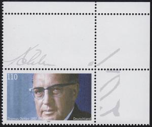 1963L Dehler - Ecke oben rechts mit bedrucktem Leerfeld ** / MNH, MICHEL 250,-