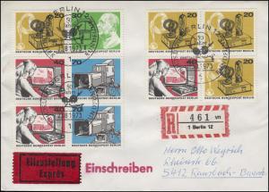 455-458 Rundfunk-Zusammendrucke + Ezm aus Block 4 Eil-R-FDC ESSt BERLIN 23.8.73