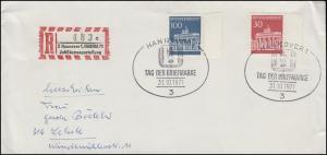 508+510 Brand. Tor mit Rand Sonder-R-Zettel HABRIA 71 SSt HANNOVER 31.10.1971