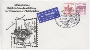 Ganzsache PU 218/3 Ausstellung Eisenbahner-Philatelisten SSt NÜRNBERG 9.8.1985