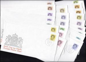 Niederlande 1197 ff Königin Beatrix zweifarbig weiße Inschrift, Satz auf 24 FDC