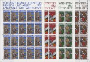 802-805 Land- und Forstwirtschaft 1982, 4 Werte, Kleinbogen-Satz **