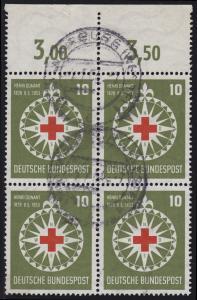 164 Rotes Kreuz / Henri Dunant als Oberrand-Viererblock, gestempelt WARBURG 1954