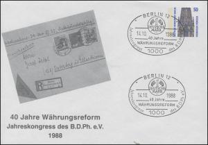 Privatumschlag PU 136/11 BDPh-Kongress Währungsreform SSt BERLIN 14.10.1988