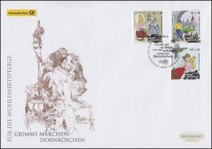 3132-3134 Grimms Märchen Dornröschen, Satz auf Schmuck-FDC Deutschland exklusiv