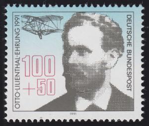 1543 Einzelmarke aus Block 24 Luftpostausstellung Lilienthal 1991, postfrisch **