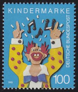 1695 Einzelmarke aus Block 27 Für uns Kinder - Musikclown 1993, postfrisch **