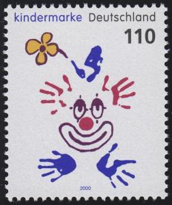 2134 Einzelmarke aus Block 53 Für uns Kinder - Clown 2000, postfrisch