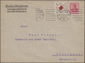 Germania 10 Pf mit Vignette Kreuz-Pfennig-Sammlung auf Bief BERLIN 28.11.1914