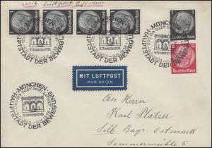 Zusammendruck S 147 Hindenburg 1+12 mit Zusatzfr. Lp.-Brief SSt. MÜNCHEN 9.11.38