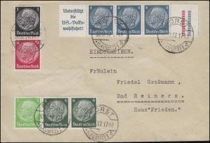 Zusammendruck W 68 Hindenburg Rand-4er-Streifen + S 147 + W 69 Bf FORST 30.12.37