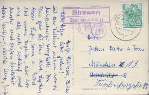Landpost Strasen über NEUSTRELITZ 29.7.60  auf AK Waren-Müritz