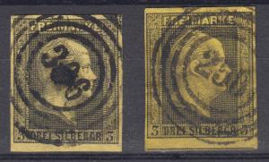 Preußen 4a+4b König Friedrich Wilhelm IV., beide zentrische Nummernstempel