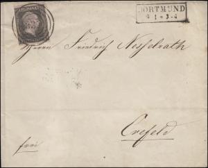 Preußen 2 König Friedrich Wilhelm IV., EF Brief Nummer 337 und R2 DORTMUND 9.1.
