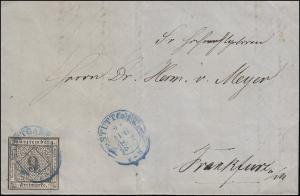 Württemberg 9 Kr. EF Bf. Zweikreisstempel blau STUTTGART 23.8.1852 n. Frankfurt