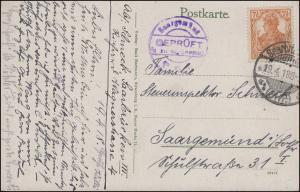 Zensur Saargemünd GEPRÜFT und zu befördern auf AK Saarbrücken 19.4.1918